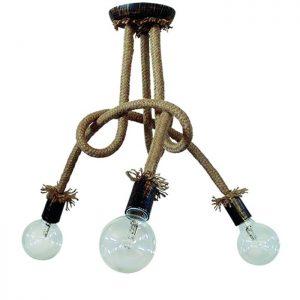 φωτιστικό κρεμαστό plex rope με 3 πλαστικά ντουί μπρονζέ και σχοινί
