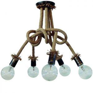 φωτιστικό κρεμαστό plex rope με πλαστικά ντουί μπρονζέ και σχοινί