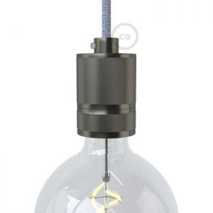 Βιομηχανικό ντουί αλουμινίου Ε27 ανθρακί με στήριγμα καλωδίου