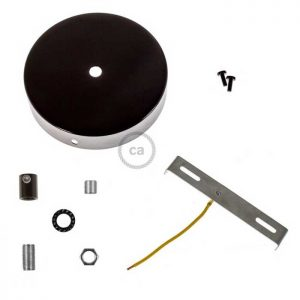 Ανθρακί Ροζέτα πλακέ μεταλλική με βίδες, στήριξη, και ανθρακί πλακέ μεταλλικό στήριγμα καλωδίου-kit