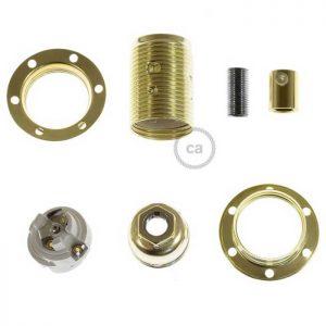 Μεταλλικό Ντουί χρυσό E14, με δύο ροδέλες και πλακέ στήριγμα