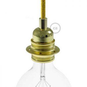 Μεταλλικό Ντουί χρυσό E27, με δύο ροδέλες και πλακέ στήριγμα καλωδίου